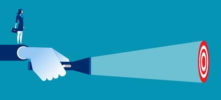 Líder empresarial apuntando la linterna al objetivo. Concepto de ilustración vectorial de negocios.