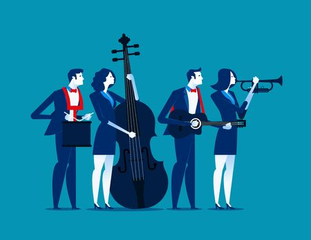 The Band. Business team relax. Concept business vector illustration.