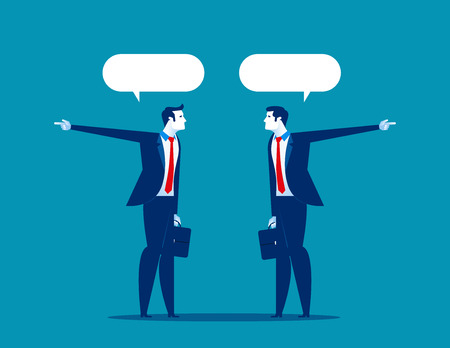 Businessman talk and show in different directions. Concept business vector.
