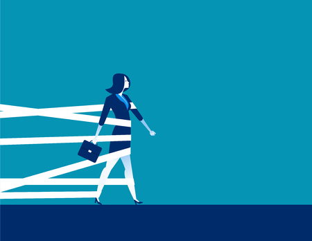 Businesswoman being held back by tape. Concept business vector.