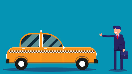 Businessman calling taxi. Concept business taxi service vector illustration.