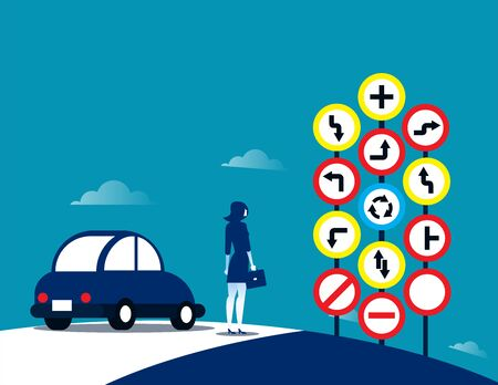 Businesswoman and traffic signs. Concept traffic sign vector illustration.  イラスト・ベクター素材