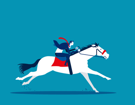 Business man ride a horse Concept business vector illustration.