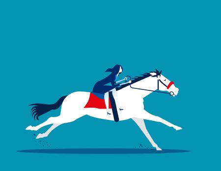 Businesswoman ride a horse. Concept business vector illustration.