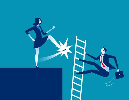 Dismission. Businesswoman kick away. Concept business vector illustration.