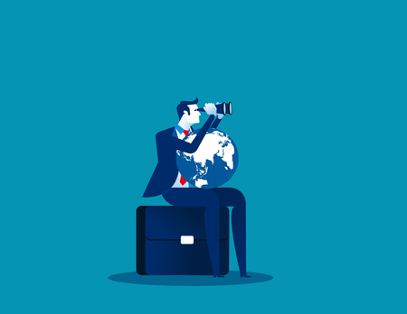 Businessman search for success. Concept business success vector illustration. Looking through binoculars, with the world on lap. Illustration
