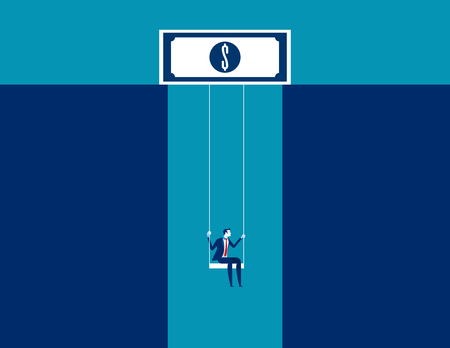 Businessman on swing dangling from dollar sign. Concept business vector. Illustration