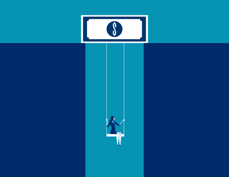 Businesswoman on swing dangling from dollar sign. Concept business vector.