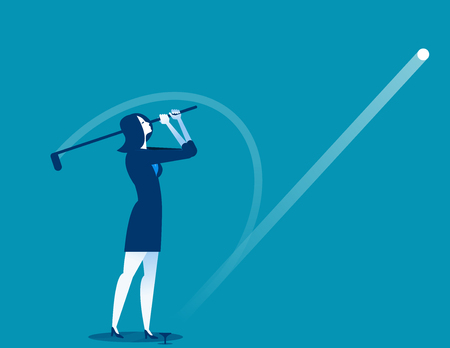 Golfer Post Swing. Businesswomen play golf. Concept business vector illustration.