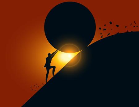 Uomo d'affari che ferma una roccia di rotolamento gigante. Illustrazione vettoriale di concetto aziendale. Archivio Fotografico - 97588934
