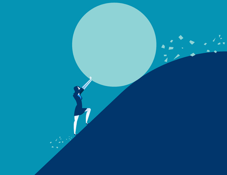 Businesswoman stopping a giant rolling rock. Concept business vector illustration.