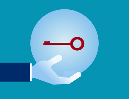 Business hand holding crystal ball with key. Concept business illustration.