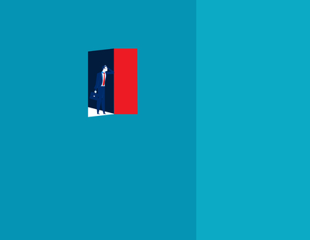 Failure, businessman open the door and then come across empty. Concept business illustration. Illustration