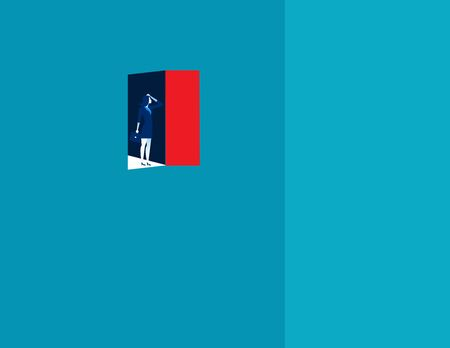 Failure. Businesswoman open the door and then come across empty. Concept business illustration. 向量圖像