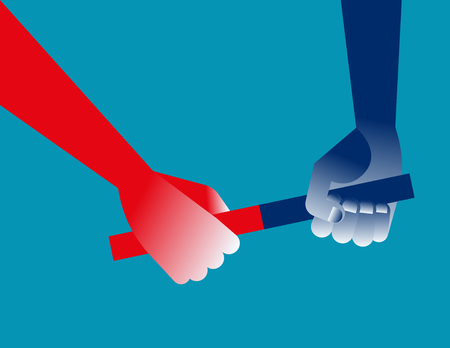 Hand and baton. Concept business cooperation vector illustration. Çizim