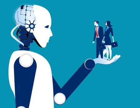 Ludzki biznes w robotycznej ręce. Koncepcja ilustracji wektorowych robota i automatyzacji.