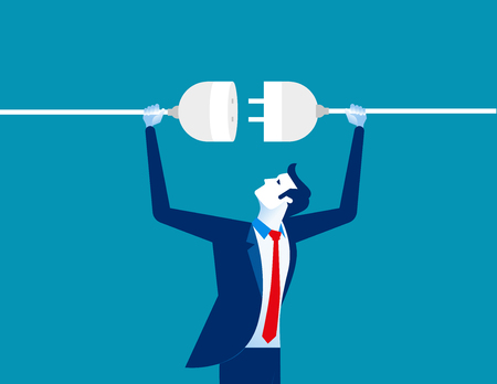 Getting plugged in, concept business vector illustration.