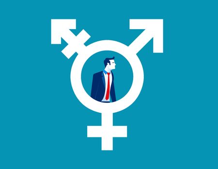 Mens in transsexueelsymbool, concepten menselijke levensstijl.