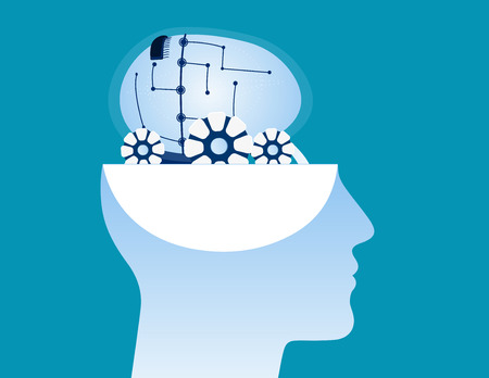 Brain revealed inside of profile of man head. Concept business vector illustration.