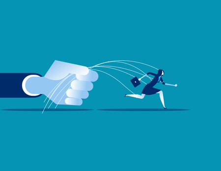 Business being pulled by strings. Concept business vector illustration.