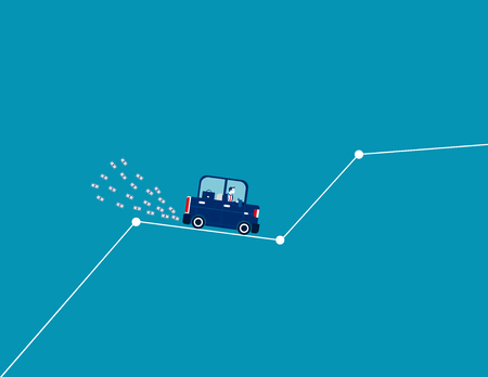 Businessman drive on ascending line graph and money emerging from car exhaust. Concept business vector.