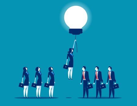 Buisness person rising on bulb balloon. Concept business vector illustration.