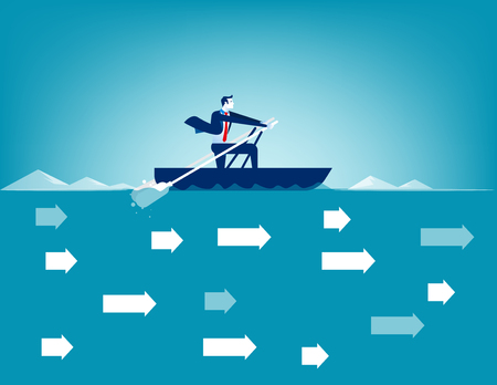 Business man rowing in against direction of current. Concept business vector. Ilustrace