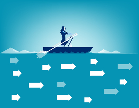 Business woman rowing in against direction of current. Concept business vector. Illustration