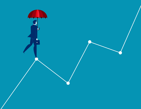 Businessman standing on graphs. Concept business vector illustration.