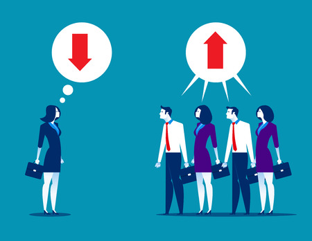 Business people disagreeing with upward and downward arrow in thought buble. Concept business vector. Ilustrace