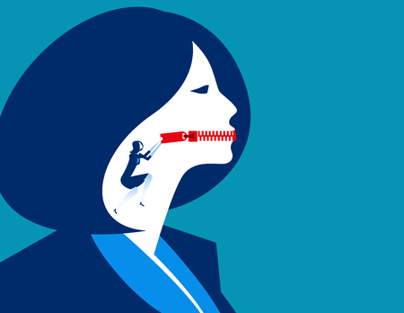 Business woman with zippered mouth. Illustration