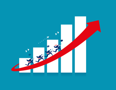 Businessman running on red arrow. Concept business vector illustration.