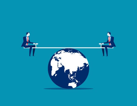 Businessman balanced on seesaw over globe. Concept business vector illustration.