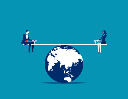 Business person balanced on seesaw over globe. Concept business vector illustration.