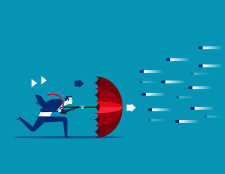 Risk averse. Businessman and umbrella to shield.Concept business