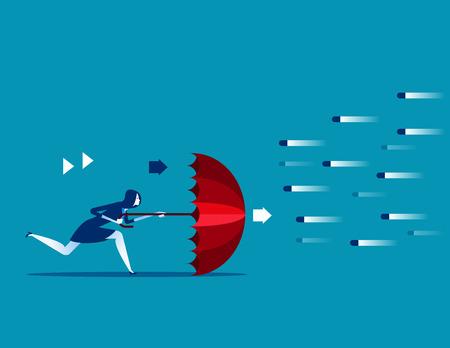 Risikoaverse Geschäftsfrau und Regenschirm zum Schutz des Konzeptgeschäfts