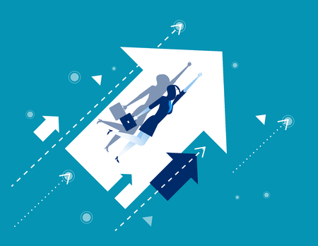 Growth. Businesswoman flying and arrows. Concept business vector illustration.  イラスト・ベクター素材