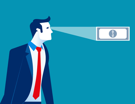 Businessman looking money in ones future. Concept business vector illustration.