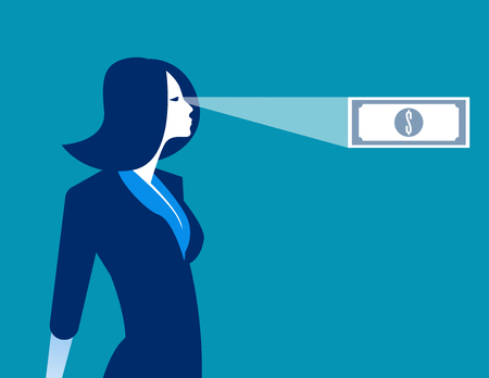 Businesswoman looking money in ones future. Concept business vector illustration. Ilustrace