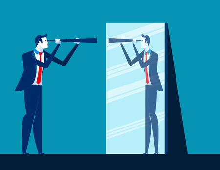 Businessman holding telescope and reflecting in mirror. Concept business vector illustration.