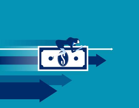 Businesswoman money rides. Concept business success vector. Illustration