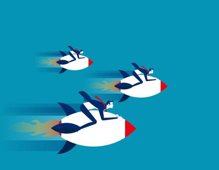 Businessman rocket rides. Concept business success vector.