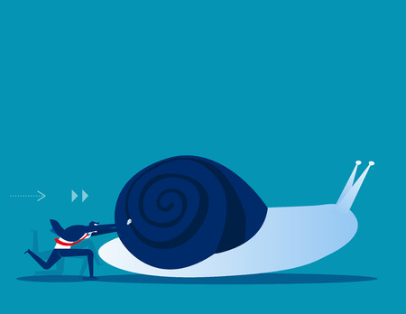 Businessman pushing snail. Concept business vector illustration. Illustration