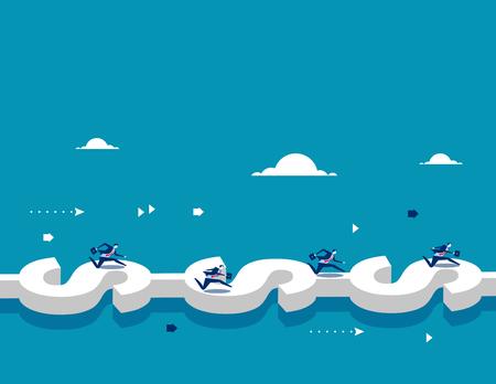 Businessman team running on dollar road. Concept business vector illustration. Illustration