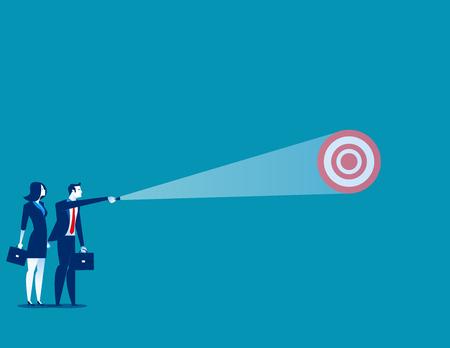 Businessman shining light on target. Concept business vector. Stock Illustratie