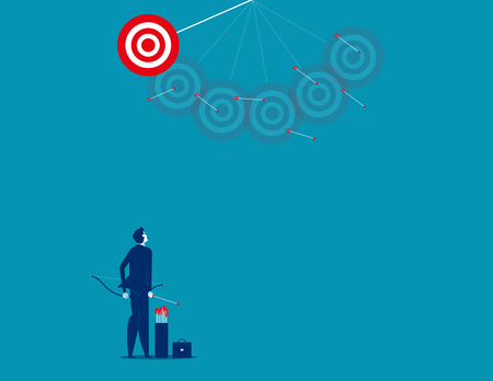 Businessman shooting arrows missing target. Concept business vector illustration.