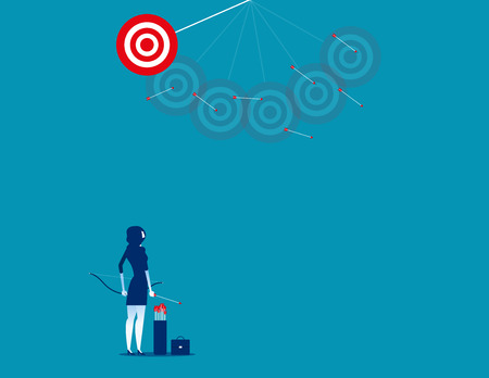 Businesswoman shooting arrows missing target. Concept business vector illustration.     Иллюстрация