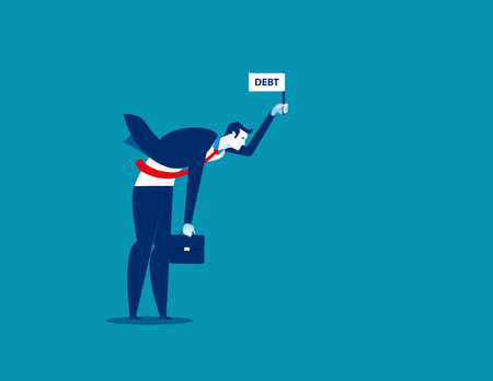 Businessman standing and holding debt flag sign. Concept business vector illustration.  イラスト・ベクター素材