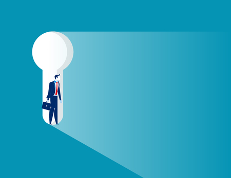 Businessman standing in keyhole. Concept business vector illustration.