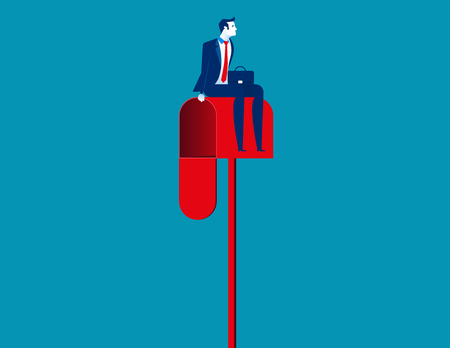 Businessman sitting on a mailbox. Concept business